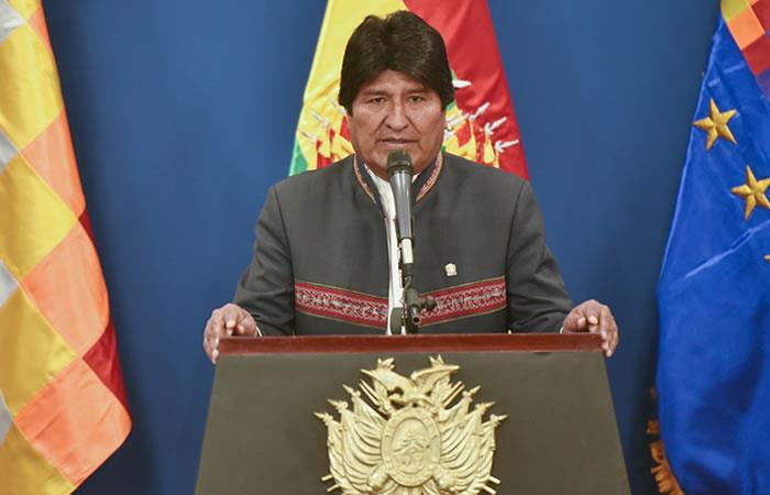 Evo Morales dio el anuncio del doble aguinaldo. Foto: EFE