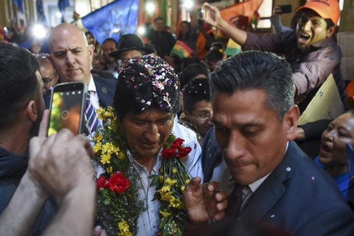 Evo Morales se reunió con bolivianos. Foto: AFP