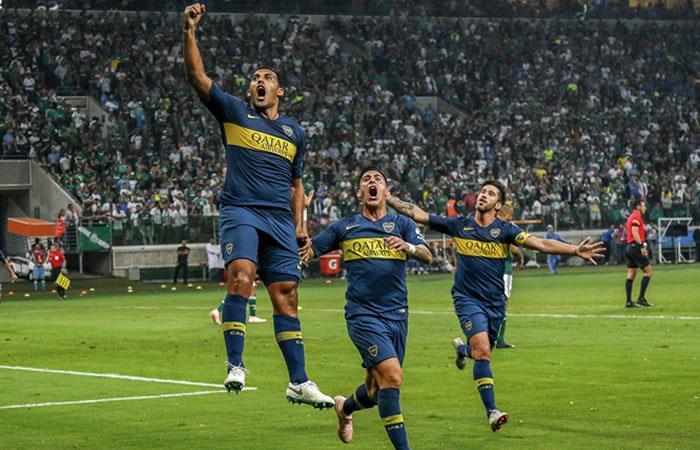 Boca celebra el pase a la final de la Libertadores. Foto: AFP