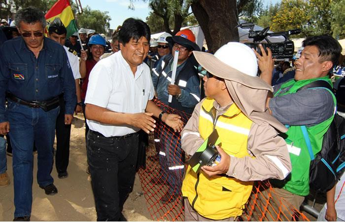 Evo Morales afirma que el tren de Cochabamba ya es una realidad. Foto: ABI