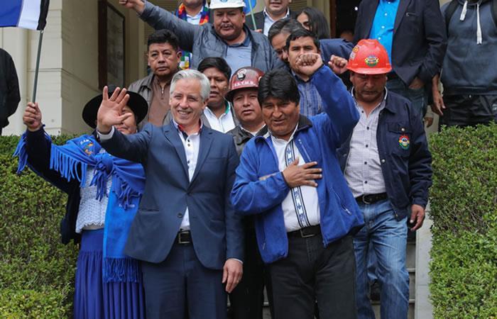 Evo Morales y García Linera a las elecciones presidenciales. Foto: EFE