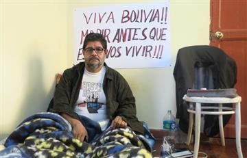 """""""Morir antes que esclavos vivir"""": huelguista en contra del Gobierno de Evo Morales"""