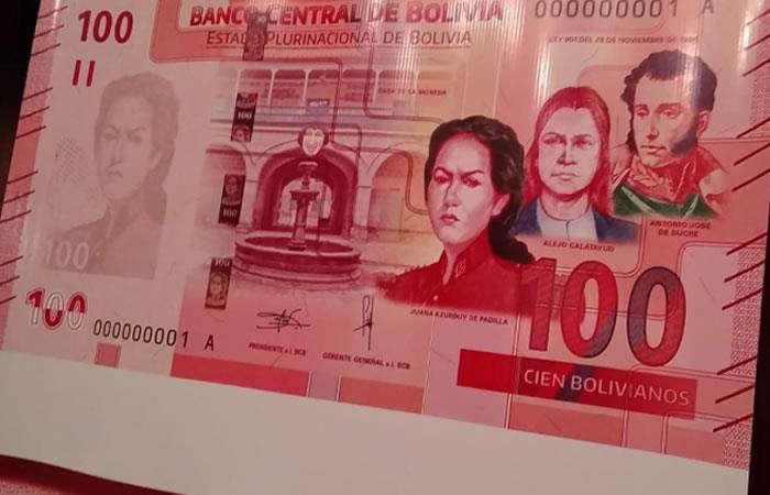 Banco Central pone en circulación nuevo billete de 100 bolivianos