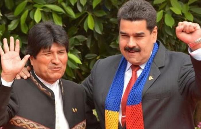 Evo Morales muestra su apoyo a Nicolás Maduro. Foto: EFE