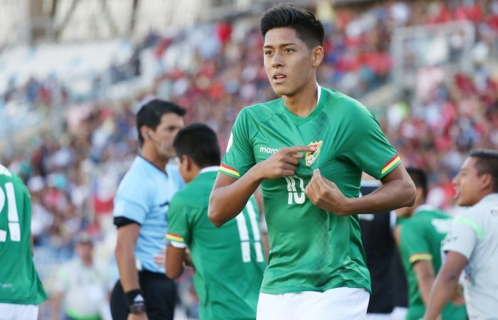 Ramiro Vaca celebrando el único gol convertido por Bolivia en este Sudamericano sub 20. Foto: EFE