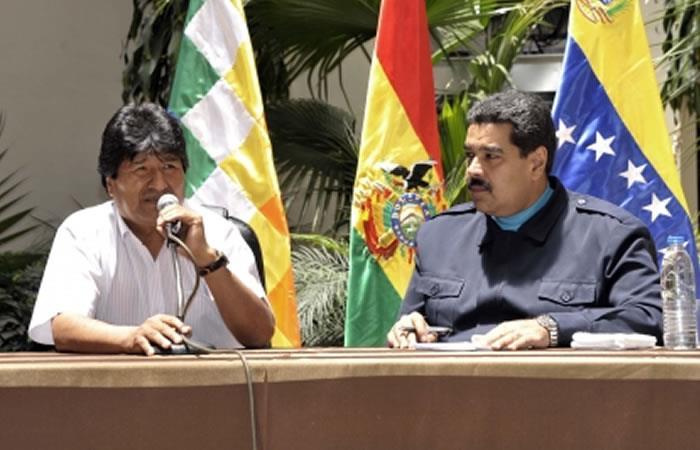 Presidente de Bolivia, Evo Morales y el presidente de Venezuela, Nicolás Maduro. Foto: ABI