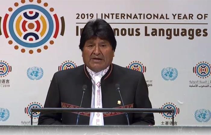El presidente Evo Morales inició su discurso utilizando lenguas indígenas. Foto: Twitter