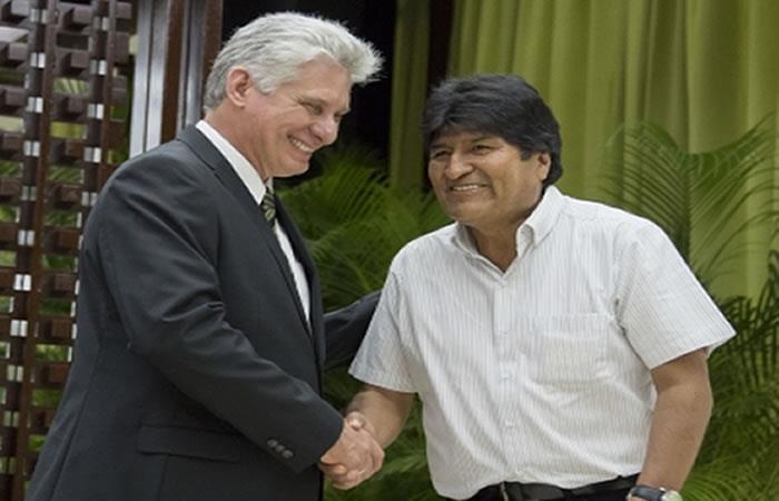 Morales agradece a Díaz-Canel por su solidaridad con Bolivia