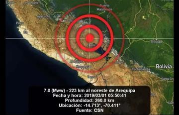 Sismo de magnitud 7.0 en Perú se sintió en La Paz