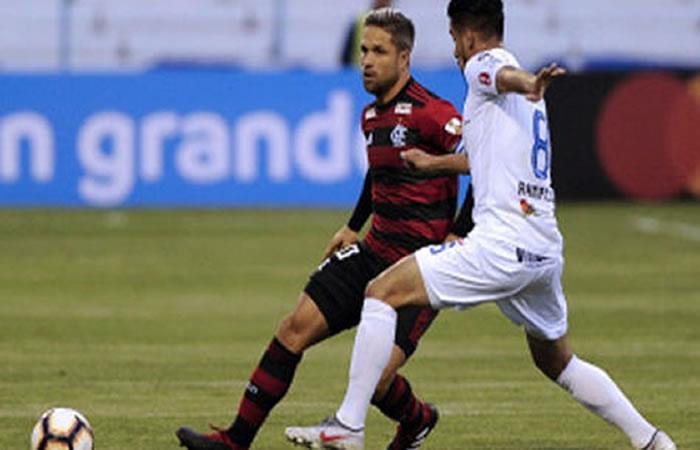 Partido San José vs. Flamengo en el estadio Jesús Bermúdez de Oruro. Foto: AFP