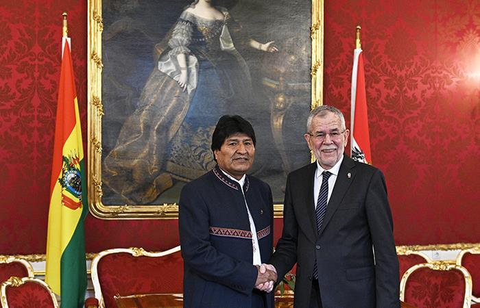 Evo Morales con el Presidente de Austria Alexander Van. Foto: AFP