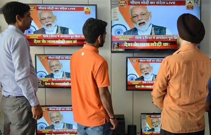 Discurso a la nación del primer ministro, Narendra Modi, sobre la prueba realizada con éxito de un misil antisatélite en Bhopal (India). Foto: AFP.