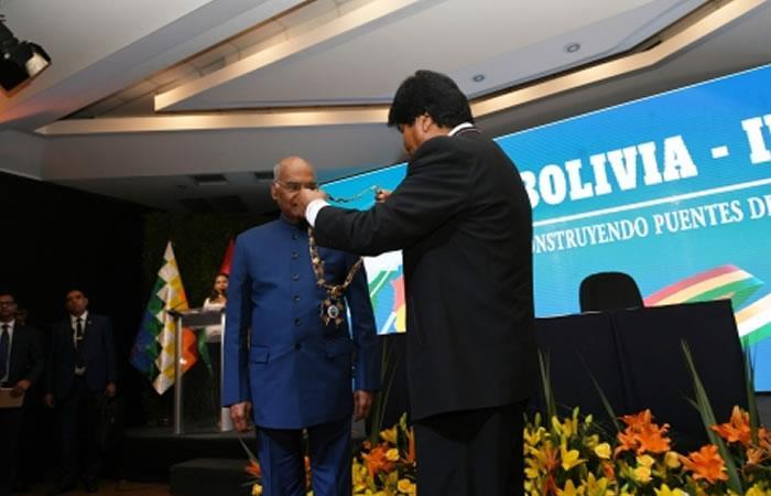 Bolivia condecora al presidente de India, Ram Nath Kovind, con el Cóndor de Los Andes