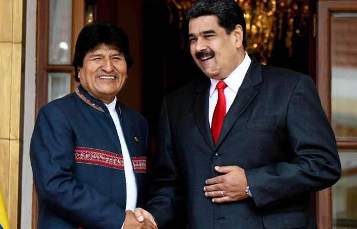 El presidente Evo Morales y el mandatario Nicolás Maduro. Foto: AFP