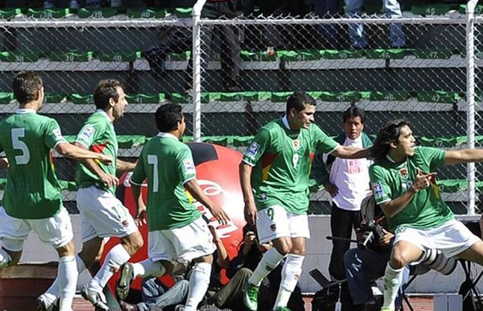 Los jugadores de la selección boliviana durante el partido contra Argentina. Foto: AFP.