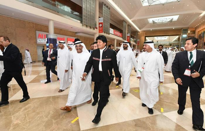 Presidente boliviano, Evo Morales en Dubái. Foto: Twitter @Evoespueblo