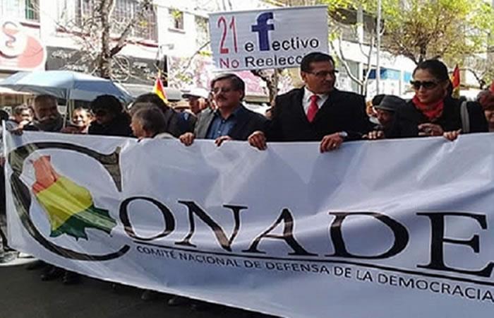 Cívicos, trabajadores y estudiantes rechazan marcha del Conade en La Paz. Foto: ABI.