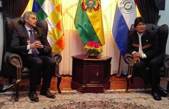 Presidente de Paraguay, Mario Abdo Benítez y el presidente de Bolivia, Evo Morales. Foto: ABI.