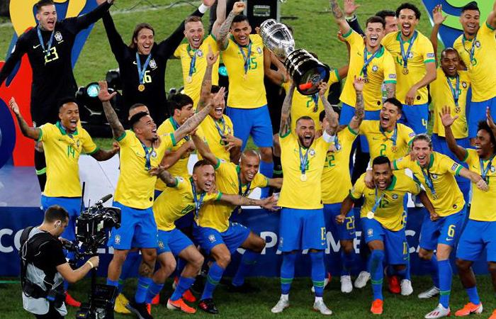 Brasil celebra su novena Copa América. Foto: EFE