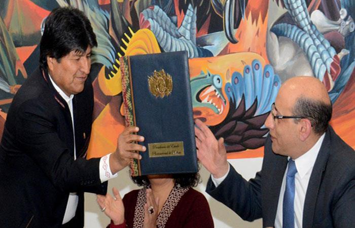Evo Morales, durante la promulgación de la nueva ley. Foto: ABI