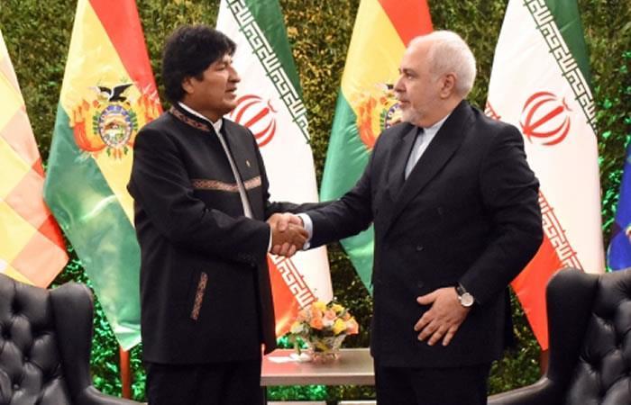 Presidente de Bolivia, Evo Morales junto con el ministro de Asuntos Exteriores de Irán, Mohammad Javad Zarif. Foto: ABI.