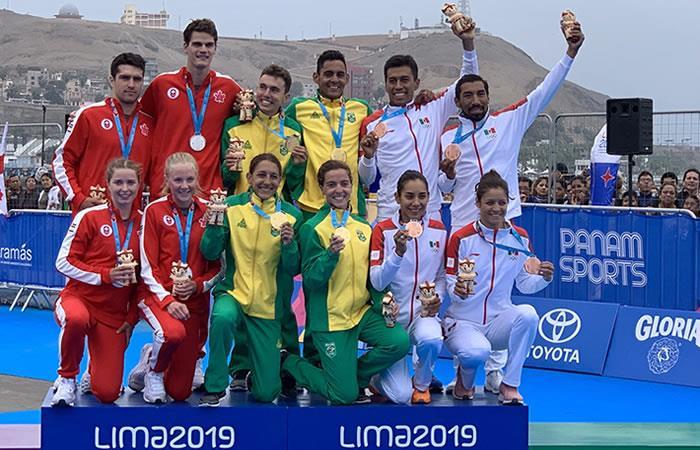 Deportistas de Canadá, Brasil y México. Foto: Twitter @Lima2019Juegos