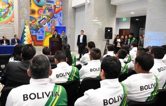 Evento de bienvenida a los jóvenes promesas del deporte boliviano. Foto: ABI.