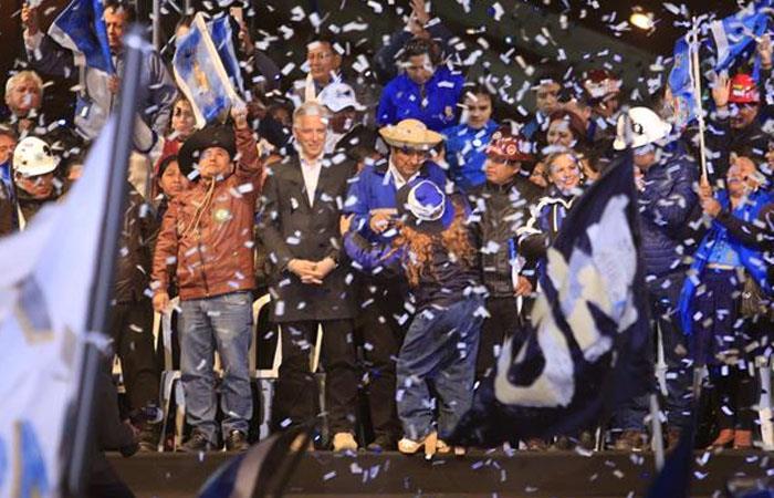Evo Morales, durante un acto de campaña, en Santa Cruz. Foto: EFE