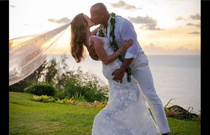 Matrimonio entre Dwayne 'The Rock' Johnson y Lauren Hashian. Foto: Instagram oficial @therock
