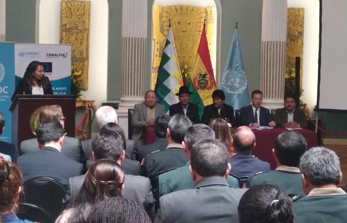Presentación del informe de monitoreo de cultivo de coca. Foto: Twitter