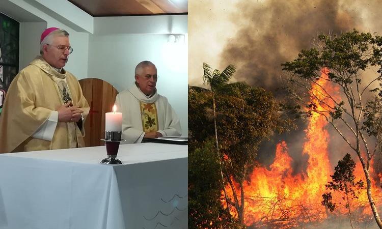 Obispos latinoamericanos durante la homilía de julio / Incendio en el Amazonas. Foto: Twitter