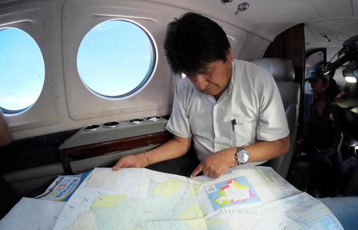 Presidente Evo Morales, durante viaje a la Chiquitania. Foto: Twitter