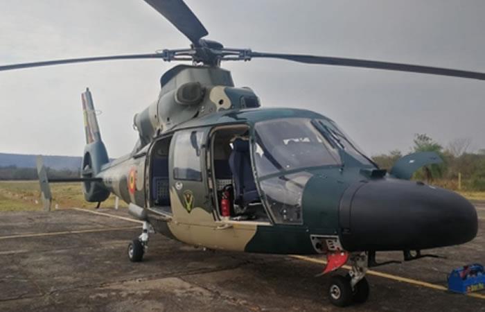 Un helicóptero fue requerido para la ubicación del bombero, que lastimosamente fue hallado sin vida. Foto: ABI