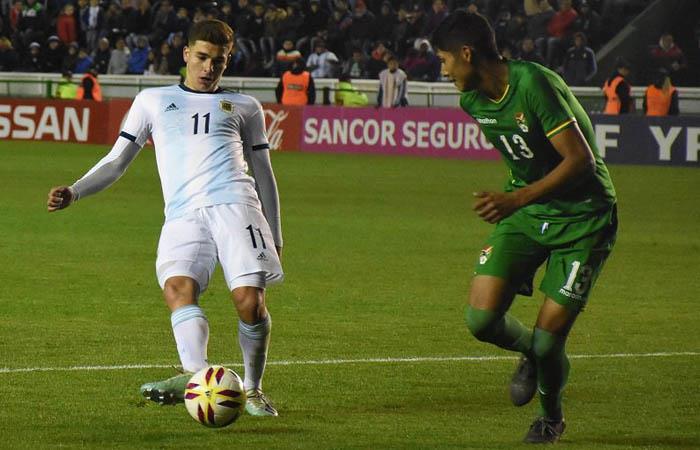 Julián Álvarez anotó uno de los cinco goles del encuentro. Foto: Twitter @Argentina