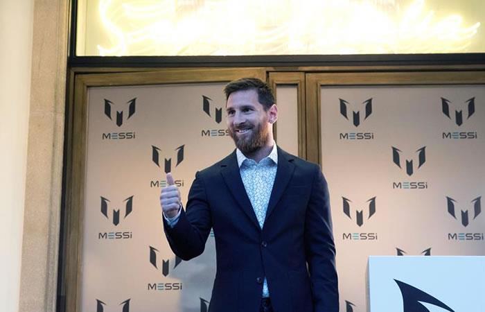 El jugador argentino del Barcelona Lionel Messi durante la presentación de la colección de ropa que lleva su nombre. Foto: EFE.