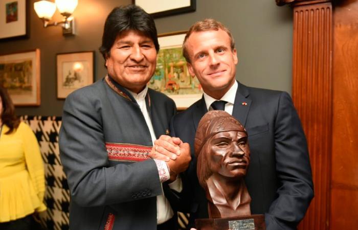 Emmanuel Macron ve a Morales como un aliado en su lucha contra el cambio climático. Foto: Twitter
