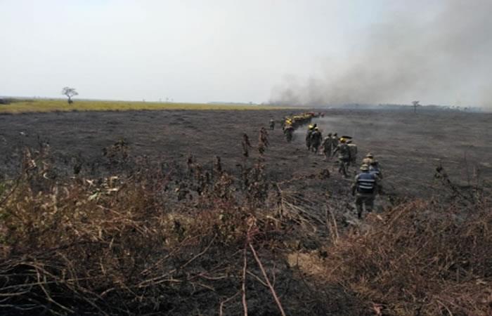 Incendio forestal en la Chiquitania. Foto: ABI.