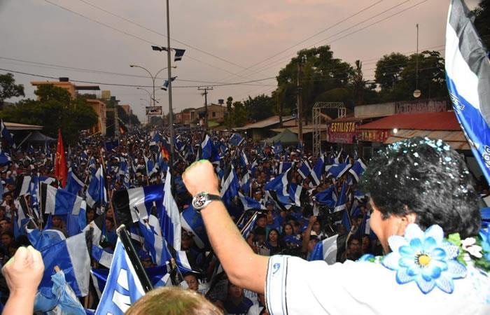Cierre de campaña de Evo Morales. Foto: Twitter @evoespueblo