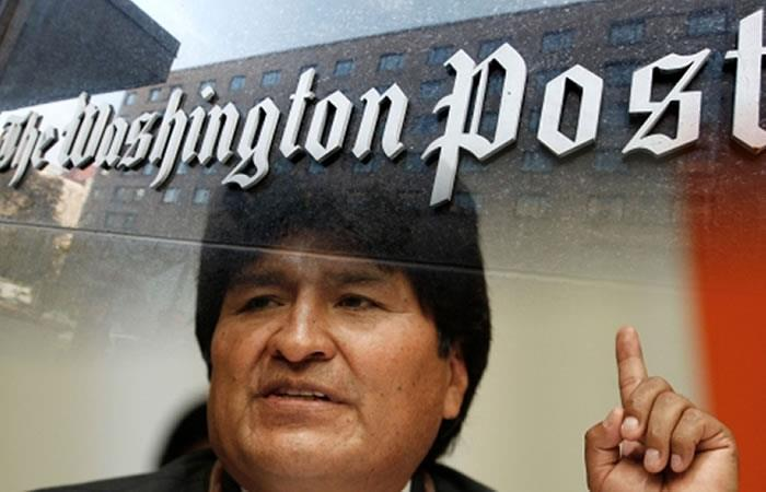 Presidente de Bolivia, Evo Morales en un reportaje de uno de los diarios más importantes de Estados Unidos. Foto: ABI.