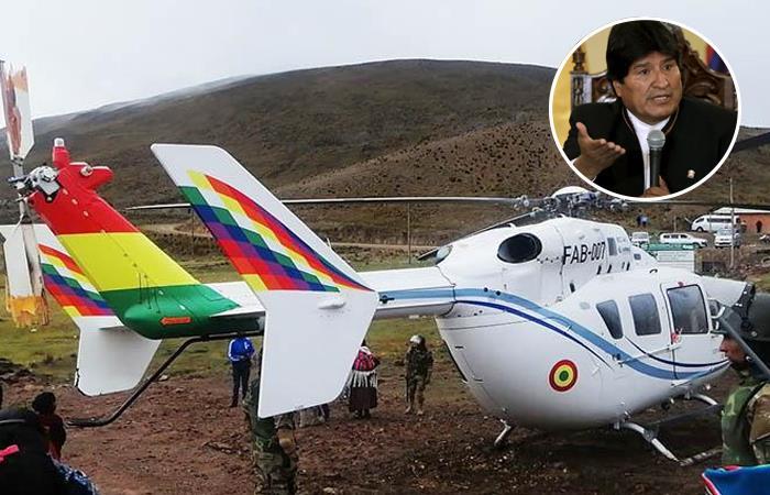 Fallas mecánicas en el helicóptero de Evo Morales. Foto: Twitter y ABI.
