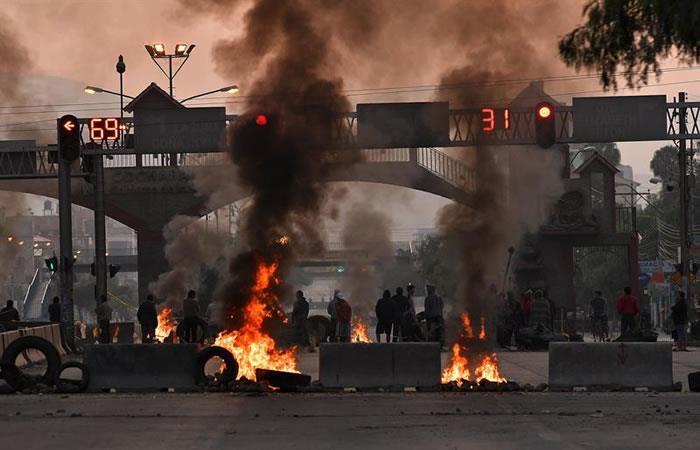 Bloqueos en la ciudad boliviana de Santa Cruz. Foto: EFE