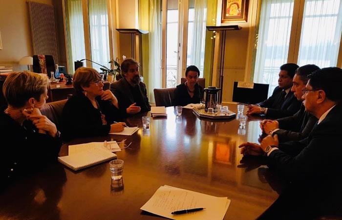 Héctor Arce, agradeció la disposición de la Alta Comisionada Michelle Bachelet. Foto: ABI