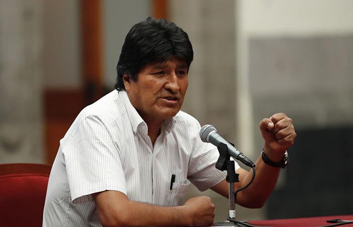 Rueda de prensa de Evo Morales en Ciudad de México. Foto: EFE