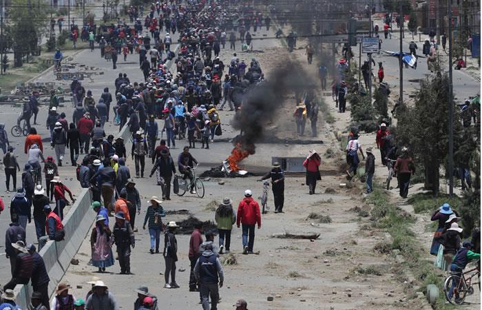 Disturbios en la ciudad boliviana de El Alto. Foto: EFE