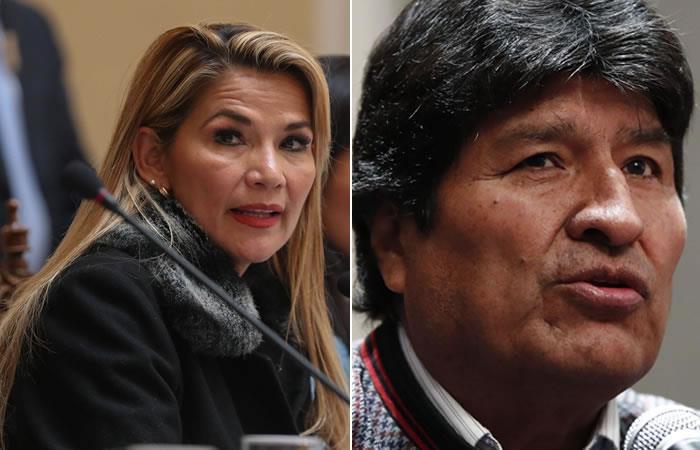 Jeanine Áñez y Evo Morales. Foto: EFE