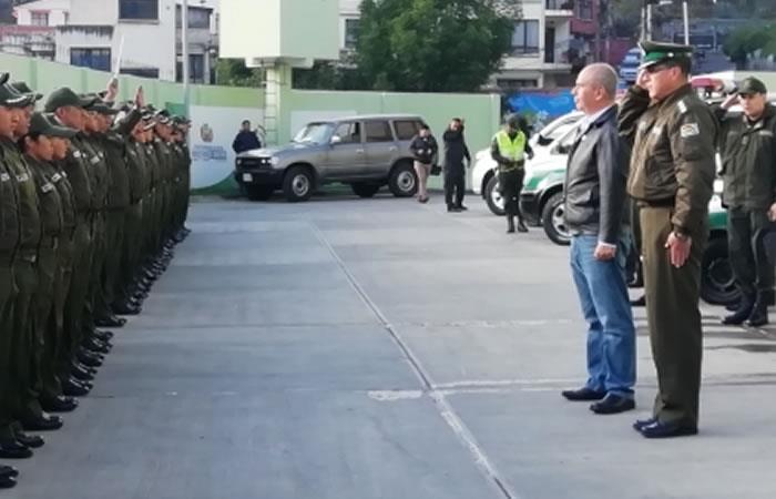 Ministerio de Gobierno junto con el Comando General de la Policía. Foto: ABI.