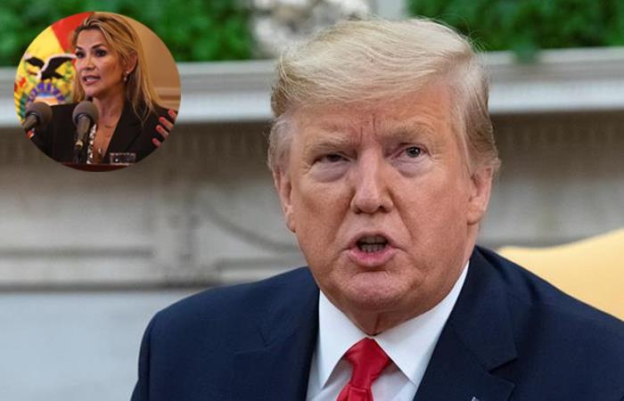 Presidente norteamericano Donald Trump y la presidenta interina Jeanine Áñez. Foto: EFE