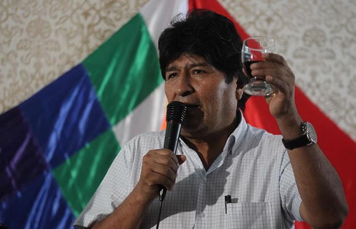 Expresidente de Bolivia, Evo Morales durante un brindis de fin de año. Foto: EFE.