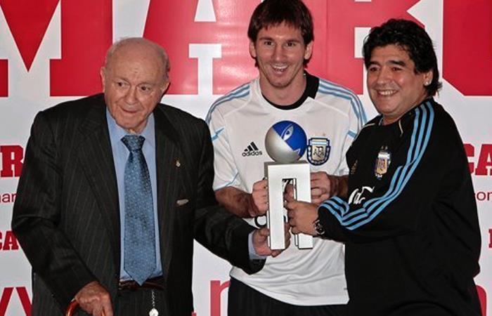 Alfredo Di Stéfano, Lionel Messi y Diego Armando Maradona. Foto: Cortesía