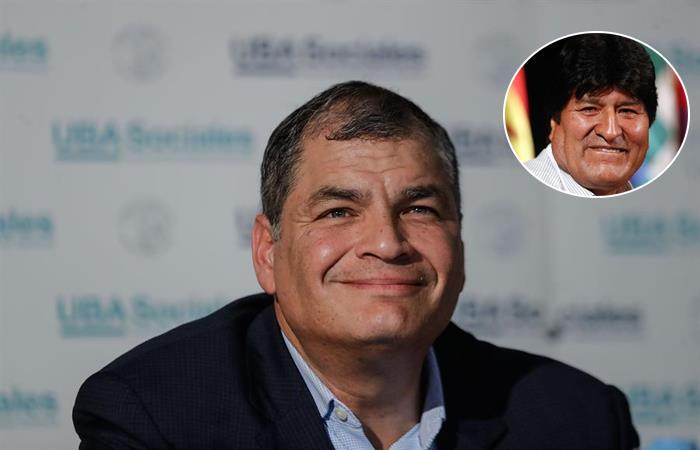 Expresidente de Ecuador Rafael Correa apoya a expresidente de Bolivia Evo Morales. Fotos: EFE.